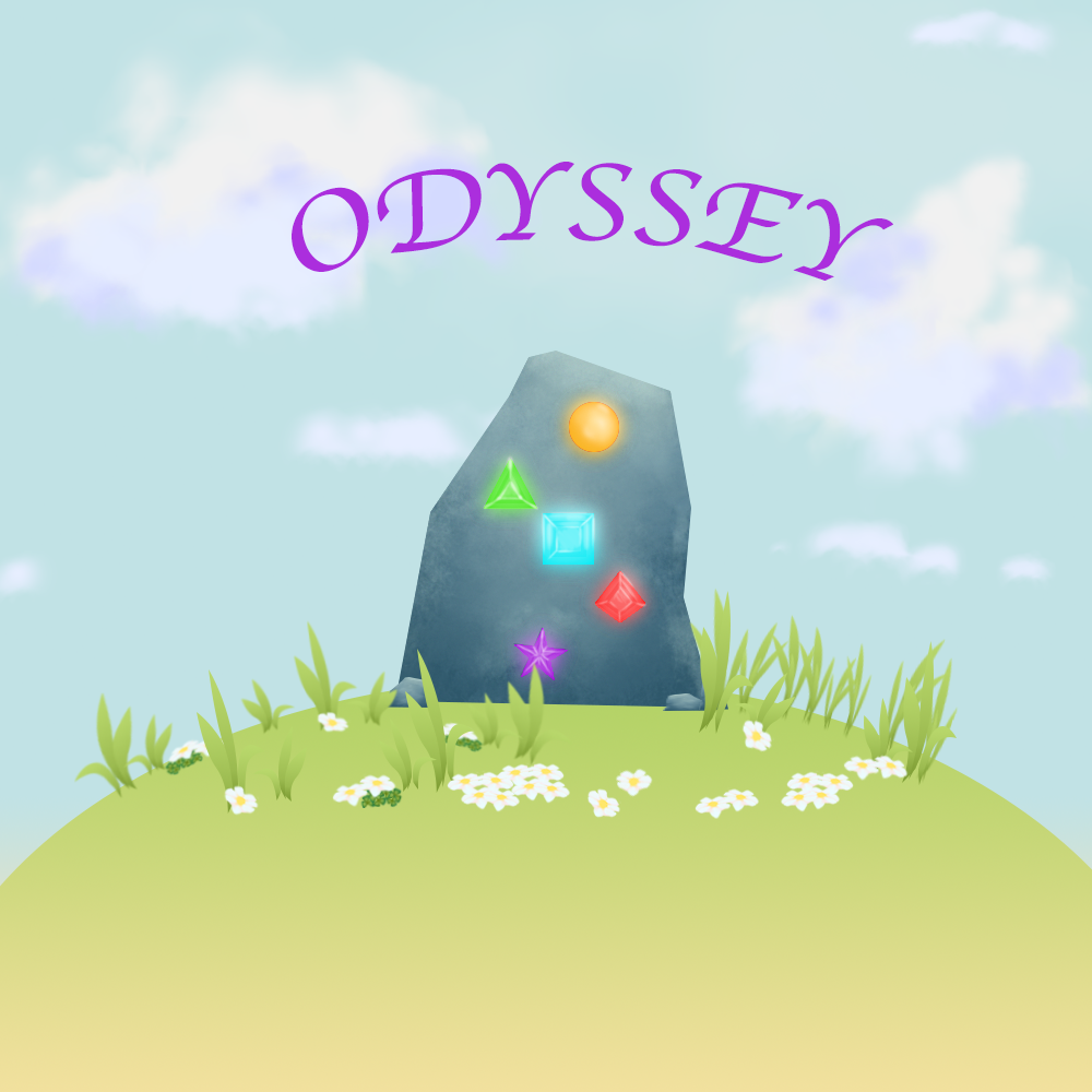 Conceptual Cover image of game; A large stone monument with glwing geometric gems is seen atop a grassy hill, with a cloudy blue sky backdrop. The word 'Odyssey' is seen in bright purple font arching above.